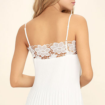 None Other White Lace Sleeveless Top