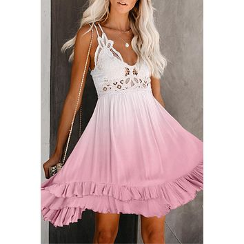 Pink Crochet V Neck Tie-dye Lace Skater Dress