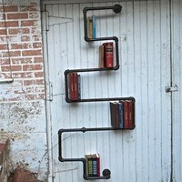 Industrial Pipe Bookshelf Saint Stephen by stellableudesigns on Zibbet