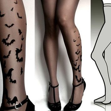 Large/Extra Large brand new color GREY sexy BATS tattoo tights / stockings / full length / pantyhose / nylons