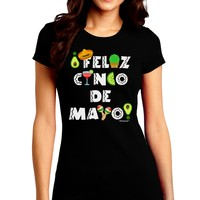 Feliz Cinco de Mayo - Fiesta Icons Juniors Crew Dark T-Shirt by TooLoud