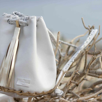 Leather White gold Bag - Bucket Purse with Long Tassel - Rucksack - Pouch - Backpack - Crossbody - Shoulder Bag - Drawstring Pouch