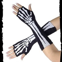 Long fingerless gloves with skeleton - Queen of Darkness - Gothic / Dark Fashion Shop