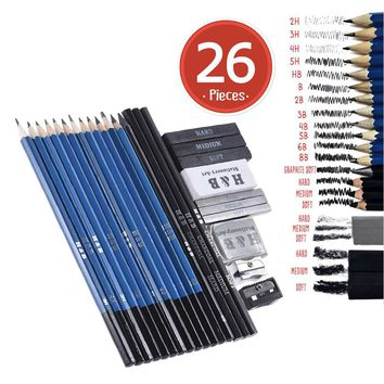 26pcs Professional Drawing Sketch Pencil Kit Set Sketch Charcoal Pencils Graphite Sticks Erasers Sharpeners for Art Supplies