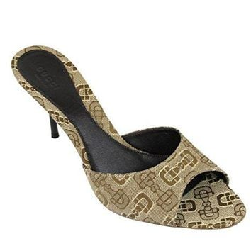 Gucci Women's Canvas Horsebit Print Slides Sandals 295093