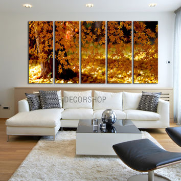 Large Wall Art Canvas Print Autumn Tree 5 Panel - Framed - Streched Autumn Landscape Leaves Canvas Printing