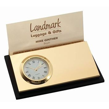Personalized Free Business Card Holder with Clock