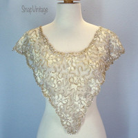 Vintage Lace Collar / Lovely Lace Sequin Collar / Beige Lace