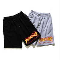 Casual Beach Pants Summer Sports Korean Cotton Knit Print Shorts [10136862471]