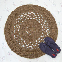 Fancy Handmade Round Jute Rug - Natural Fiber Mat - Rustic Decor - Soft Thick Rug - Doily Rug -  Burlap Rug - Jute Floor Covering