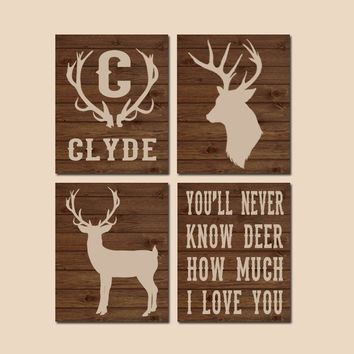 DEER Wall Art, Canvas or Prints, DEER Antler Decor, Baby Boy Deer Nursery Decor, Rustic Country, Personalized Boy Name, Deer Quote, Set of 4