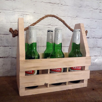 Rustic Shabby Chic Beer Tote // Caddy // Bridesmaids // Groomsmen // Personalized
