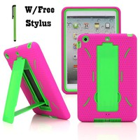 NEW Rugged Dual Layers Impact Case Cover with Built-in Kickstand Compatible with Touch Tablet Apple iPad Mini 2 With Rentina Display & iPad Mini 1st Generation - Hard and Soft Kickstand Case + Stylus Pen (Hot Pink and Green)