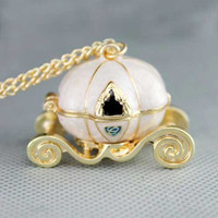 Cinderella Pumpkin Cart necklace gold tone trim by dollarjewelry