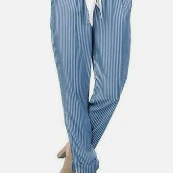Ama Stripe Tencel Pants in Blue