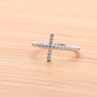SIDEWAYS CROSS ring with crystals, in silver(plated or sterling) | girlsluv.it - handmade jewelry collection, ETSY, Artfire, Zibbet, Earrings, Necklace
