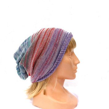 knitted cotton hat, knit colorful beanie, multicolor blue pink , white, green cloche knitting slouche tam hipster style  accessories