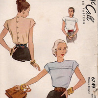 Vintage 1940s Sewing Pattern McCall 6749 Back Button Blouse Cap Sleeves Front Yoke Shirt Top Business Casual Fitted Bodice Bust 30