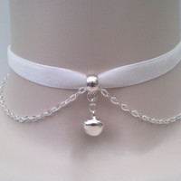 Mini Silver Plated JINGLE BELL With Chain WHITE Velvet Ribbon Choker Necklace... or choose another colour velvet :)