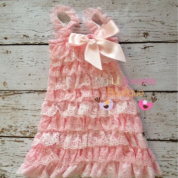 Light pink Lace dress, baby girl outfit, infant outfit, photo prop, special occasion dress, toddler dress, girls dress,