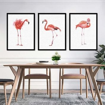 Watercolor Flamingo Canvas Art Print Painting Poster, Wall Pictures for Home Decor, Wall Decor