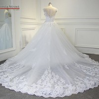 Luxury Long Train Wedding Dress Wedding Gown