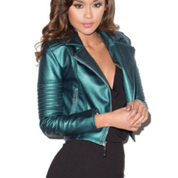 'Ride On' Metallic Petrol Blue Leatherette Biker Jacket - Mistress Rocks