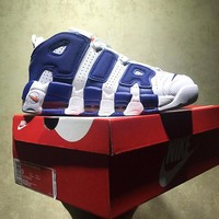 Best Online Sale Nike Air More Uptempo Retro Sport Baskerball Blue White Sneaker