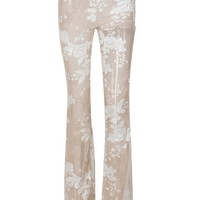 Second Chances Beige Sequin Floral Pattern Sheer Mesh High Waist Flare Leg Loose Pants