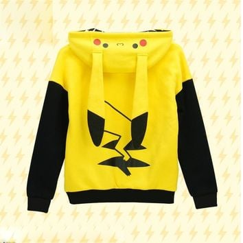 Go! Pikachu Cosplay 100%CottonFleece Hoodie Jacket Winter Thicken  Coat in stock  Kawaii Pokemon go  AT_89_9