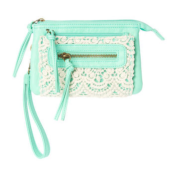 Mint Green Faux Leather Triple Zip Wristlet with Crochet Detail