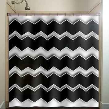 Any color chevron shower curtain bathroom decor fabric kids bath white black custom duvet cover rug mat window