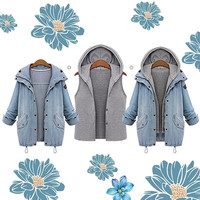 Women Fashion Autumn Winter Two-Piece Hooded Vest  Casual Loose Long Sleeve Jean Jacket