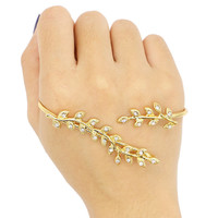 Golden Rhinestone Detail Leaf Shape Hand Ring