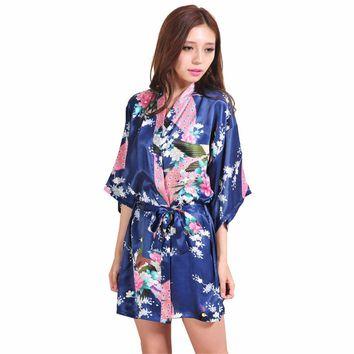 Navy Blue Chinese Female Silk Robe Dress Sexy Mini Kimono Yukata Gown Flower&Peacock Mujer Pijama S M L XL XXL XXXL NR103