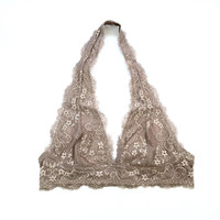 A Lace Halter Bralette in Camel