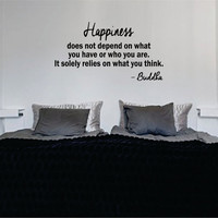 Buddha Happiness Quote Decal Sticker Wall Vinyl Decor Art