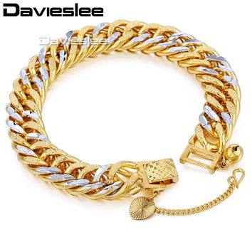 Davieslee Mens Silver Gold Bracelet Chain Hammered Heavy Curb Cuban Double Link Hip Hop Jewelry 11mm LGB192