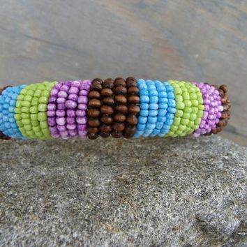Beaded Wrapped Bangle Seed Bead Bracelet Lime Green Brown Lavender Blue Turquoise Wooden