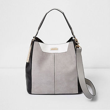Grey faux suede contrast slouch bag