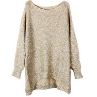 High Low Long Sleeves Pullovers with Paillette