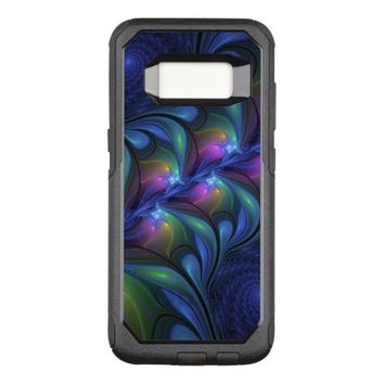 Colorful Luminous Abstract Blue Pink Green Fractal OtterBox Commuter Samsung Galaxy S8 Case
