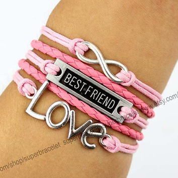 LOVE bracelet, best friend bracelet, infinity bracelet, silver charm bracelet, pink leather, girlfriend and BFF