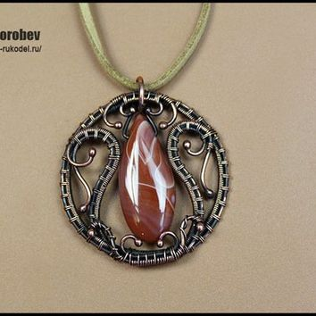 Handmade copper jewelry. Wire Wrap Pendant with agate.