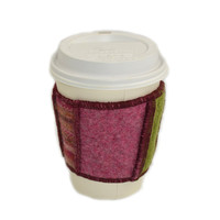 Coffee Cup Cozy in Upcycled Wool - Java Jacket - Burgundy Pink Sage Green