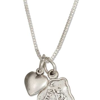 """Sterling Silver 18"""" New York State Pendant Necklace With Heart Charm"""