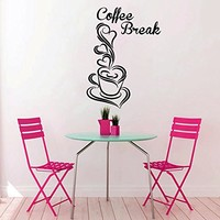 Coffee Cup Wall Decal Vinyl Sticker Decals Coffee Break Cafe Kitchen Decor Dining Room Interior Window Decal Art Murals