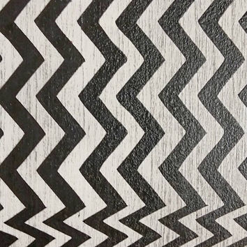 Twin Peaks Poster, BOB in Chevron pattern Handpainted Art on Wood Movie Poster