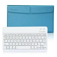 "CoastaCloud Business Pro Ultra Slim Wireless Bluetooth Keyboard W Magnetic Case and Stand For Apple iPad 2 iPad 3 iPad 4, Pad Air, iPad Air 2 iPad Pro 9.7""-12"" IOS Android Windows Tablet Sky Blue"