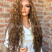 Dark Blonde Honey Balayage Human Hair Blend Multi Parting Swiss lace front wig 26""